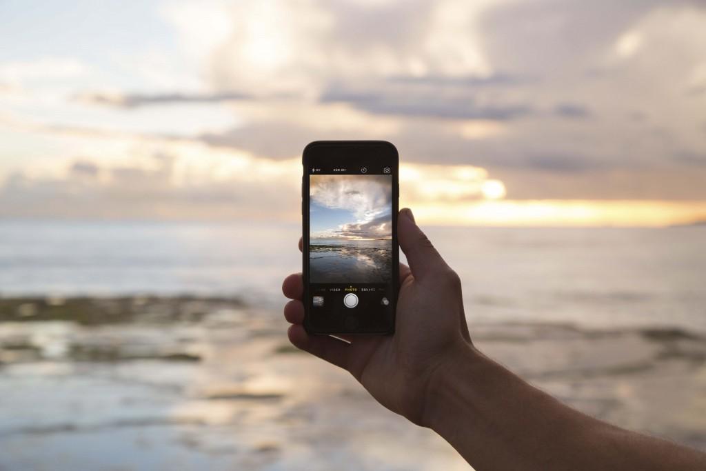 mobile phone at a beach